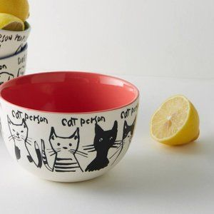 HTF Anthropologie My Kind Of Person Cat Bowl